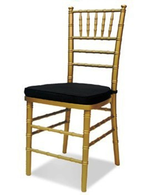 Chiavari Chair Gold with Black Cushion