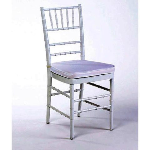 Chiavari Chair Silver with White Cushion