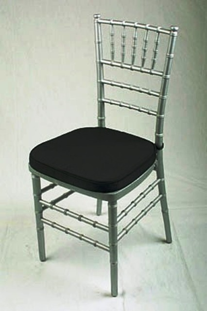Chiavari Chair Silver with Black Cushion