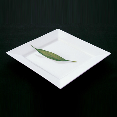 Shaped White Square Dinner Plate 10.25""
