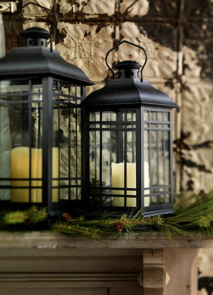Black metal lanterns large