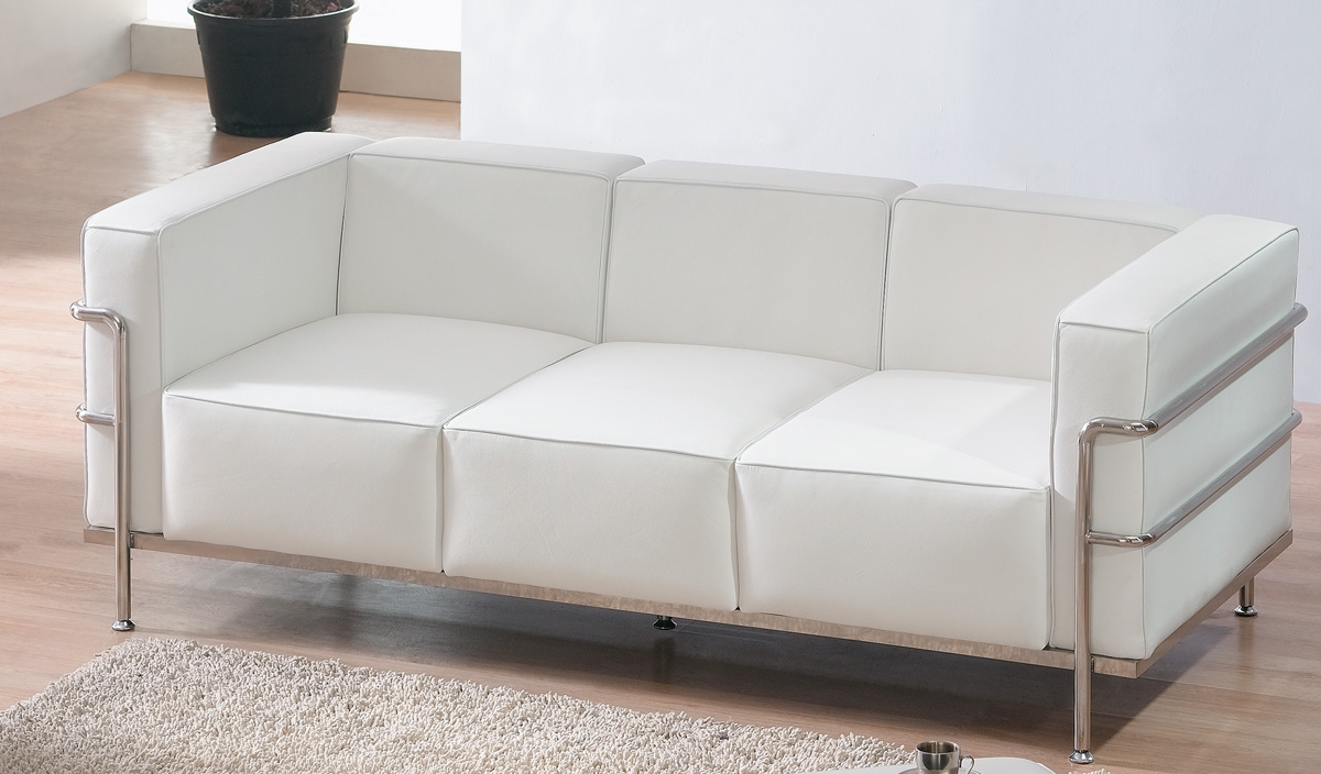 Le Corbusier Style Elegant White Leather Sofa