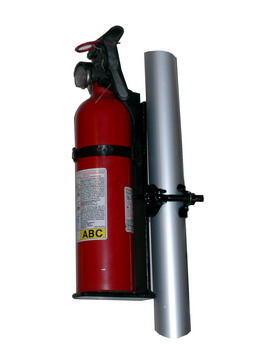 Fire extinguisher with the holder for a tent