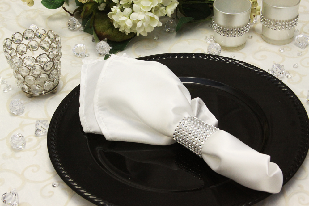 Satin Napkins White