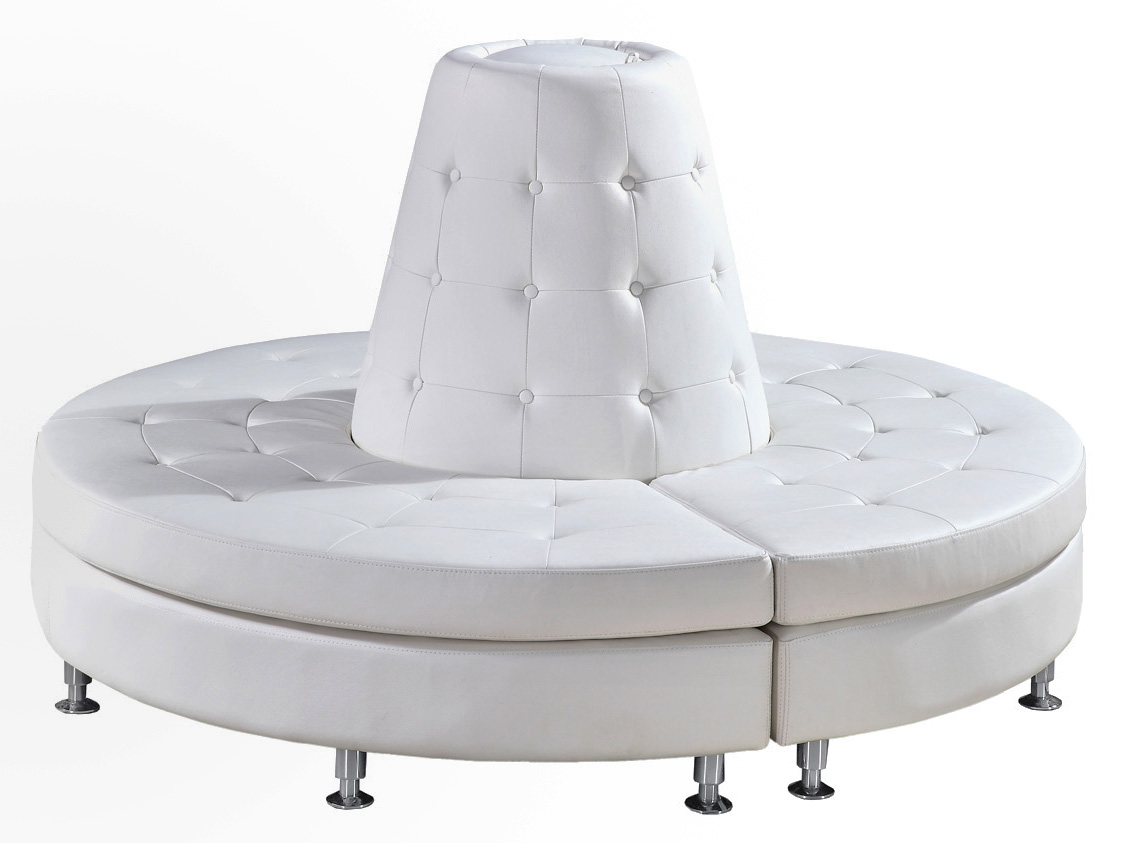 White Tufted Round Lounge Couch Cone