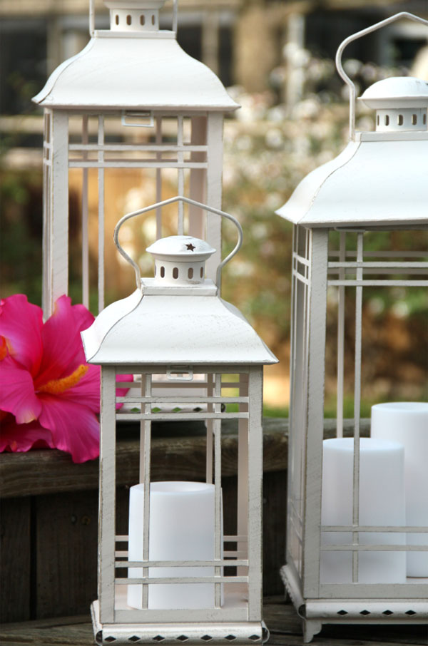 White metal lanterns large