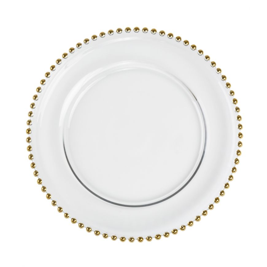 Gold Beaded Clear Glass Charger Plate
