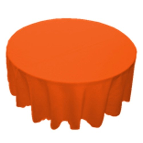 120 inch Round Polyester Tablecloth Orange