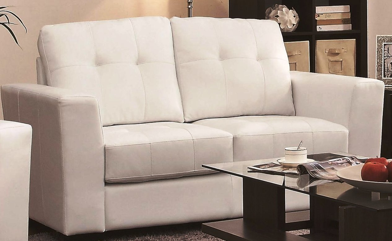 White Leather Loveseat
